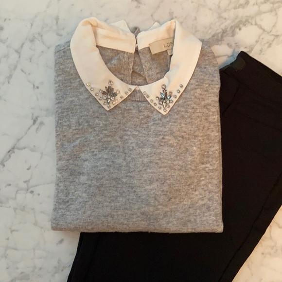 LOFT Grey Embellished Peter Pan Collar Sweater S